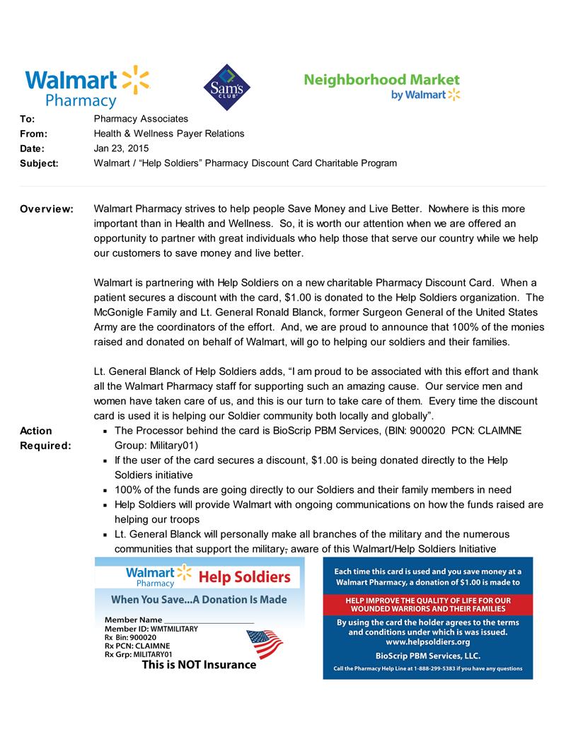 HelpSoliders Pharmacy Discount Card Charitable Program – Pharmacy Letter
